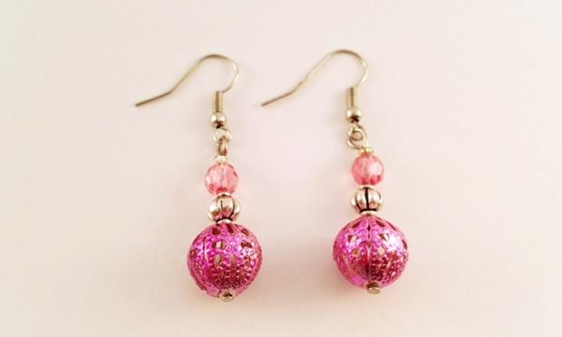 Boucle-doreilles-pendantes-perle-metal-rose