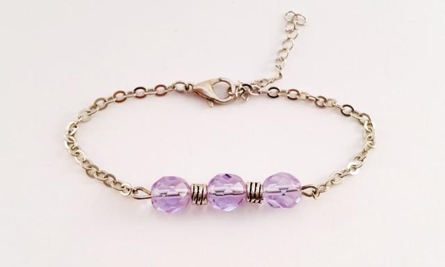 Bracelet-Gourmette-Perles-Violette