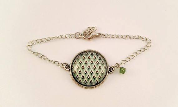 Bracelet Gourmette Motif Géométrique Nuances de Vert
