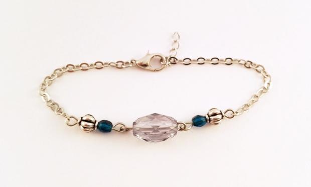 Bracelet-Gourmette-Perles-Bleues