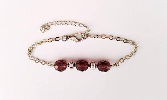 Bracelet Gourmette Perle Cristal Prunes